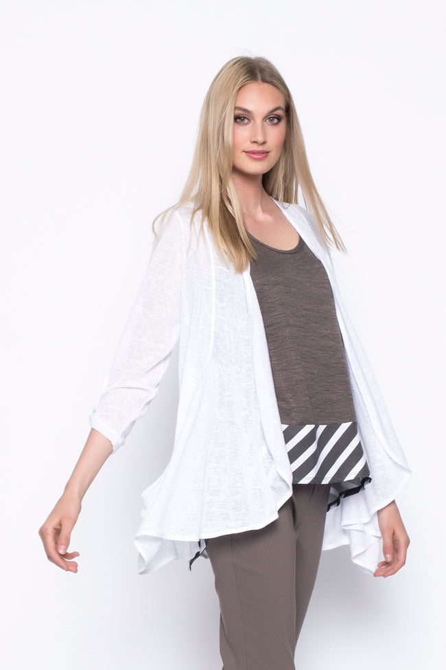 Draped Open-Front Jacket With Pockets in white