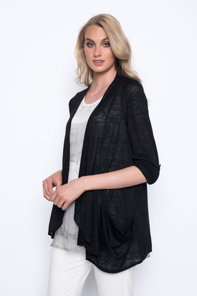 Draped Open-Front Jacket With Pockets in black