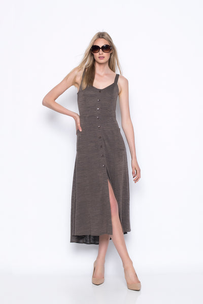 button front dress with pockets in taupe