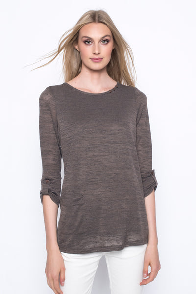 ¾ Sleeve Top With Side Pocket