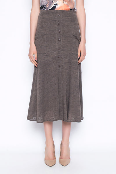 button front long skirt in taupe