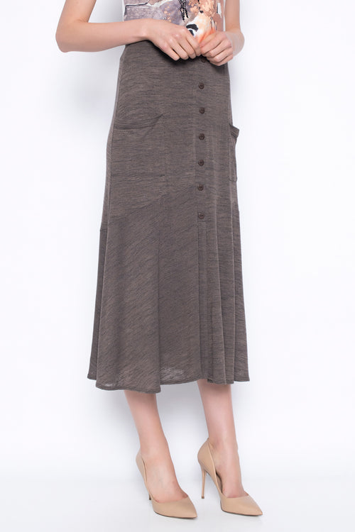 button front long skirt