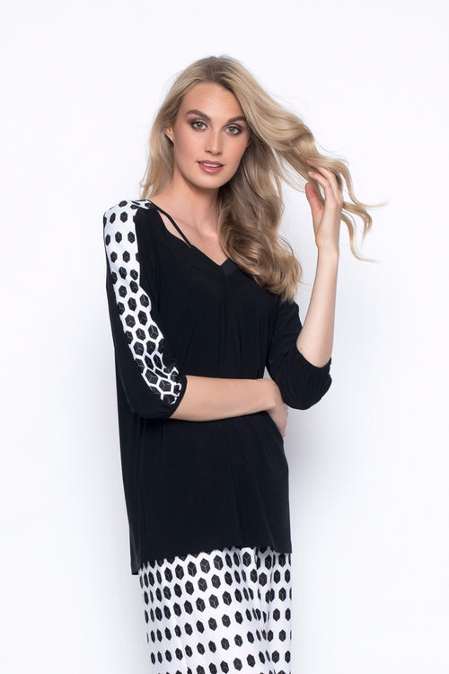 ¾ Sleeve Print Insert Top With Neckline Detail