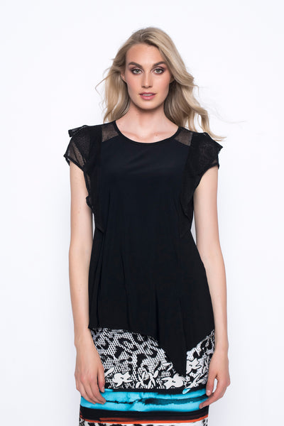 Ruffle Trimmed Top With Tie
