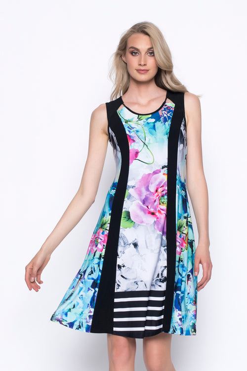 Sleeveless Panelled Dress With Cut-out Neckline
