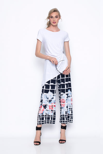 Pull-On Wide Leg Cropped Pants With Slits