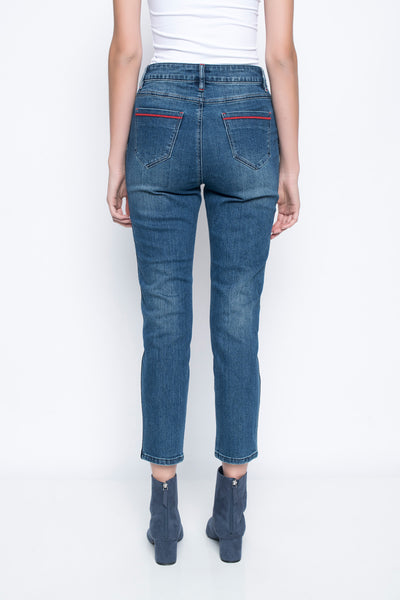 Ankle length jeans with side stripes back