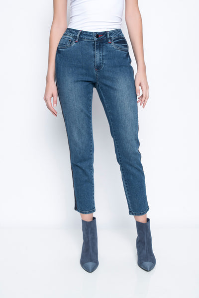 Ankle Length Jeans With Side Stripes Front