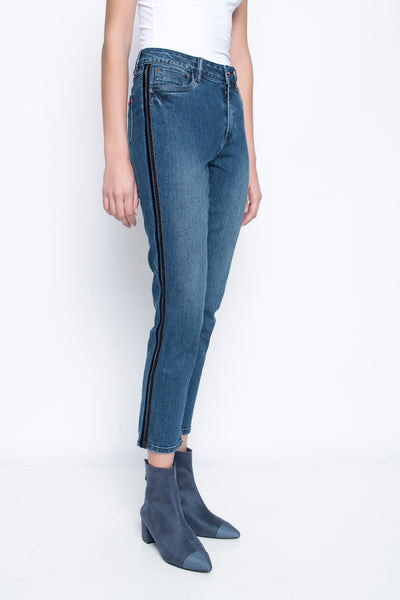 Ankle Length Jeans With Side Stripes