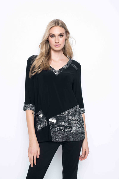 V-Neck Top With Fabric Combination