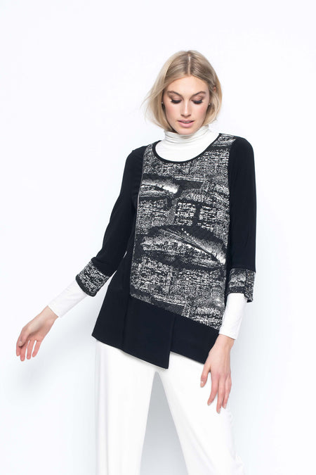 Draped Collar Sweater With Curved Hem