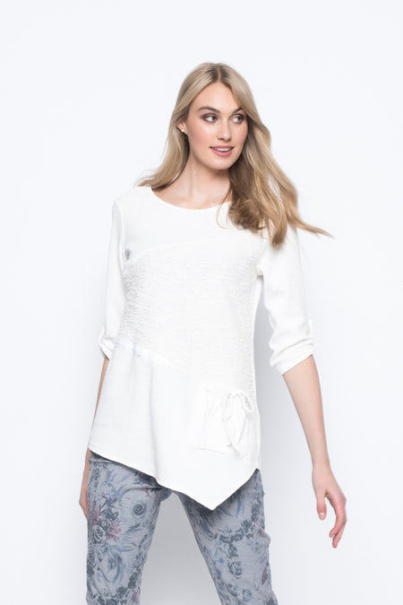 ¾ Sleeve Top with Side Slits