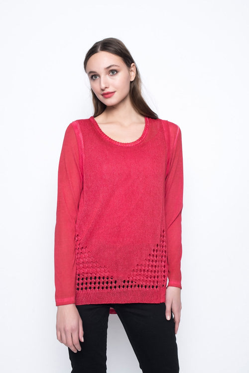Long Sleeve Top With Pointelle Knit