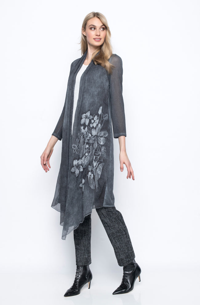 Chiffon Trimmed Duster Jacket With Embroidery