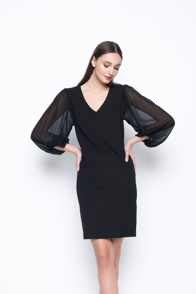 V-Neck Dress With Gathered Sleeves