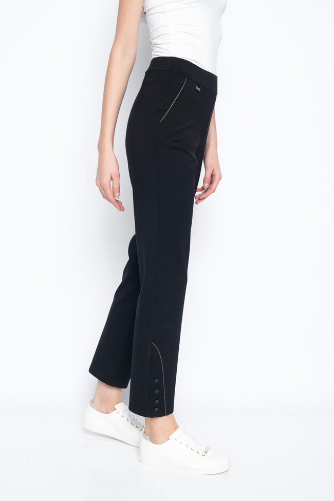 Ankle length pant with metallic trim button