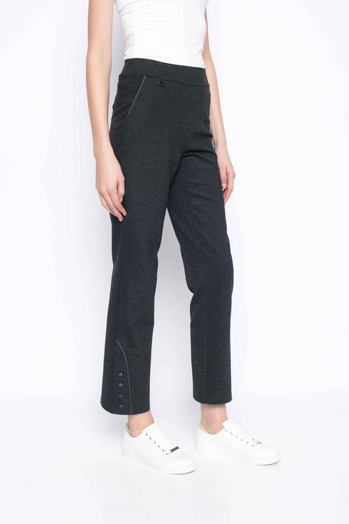 Ankle length pant with metallic trim charcoal