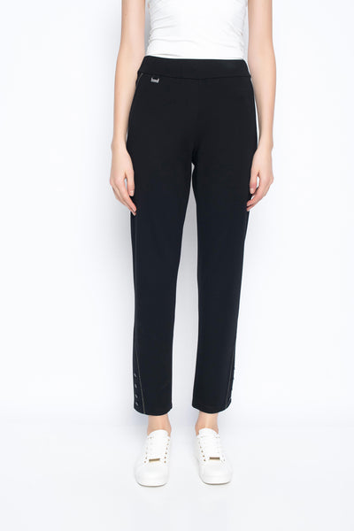 Ankle length pant with metallic trim front