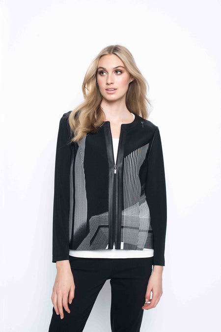 Zip Front Fabric Combo Jacket