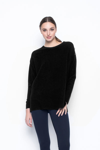 Dropped Shoulder Sweater With Button Detail
