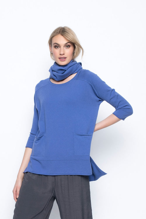 Drop Shoulder Top With Detachable Scarf