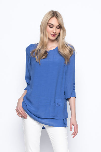 3-4 sleeve top with side slit blue jewel