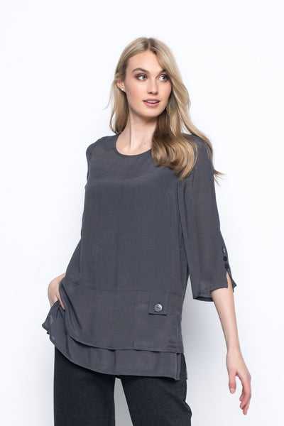 3-4 sleeve top with side slit charcoal