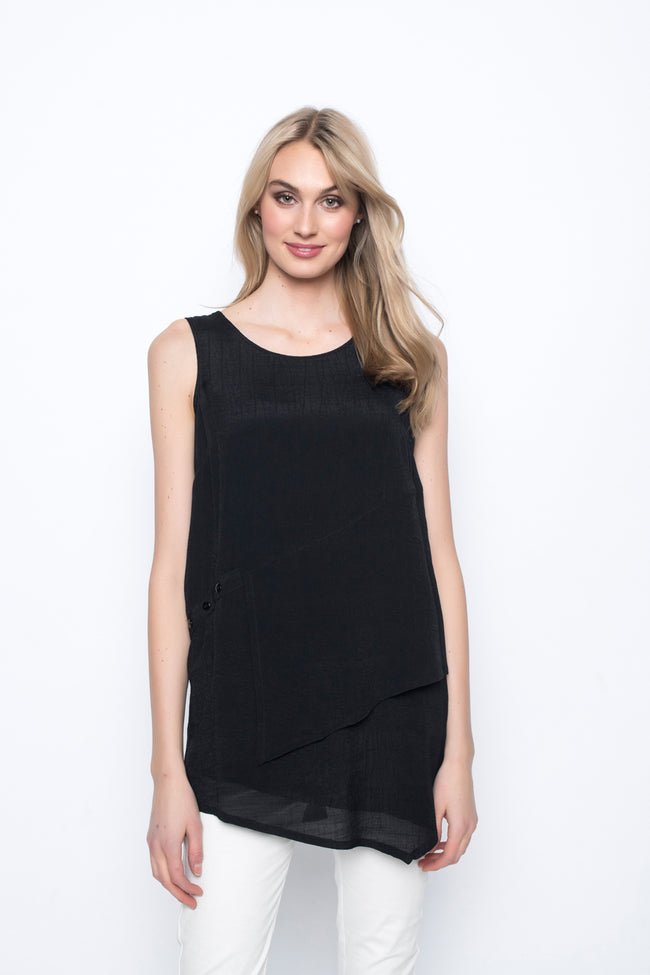 Tank With Asymmetric Layered Hem