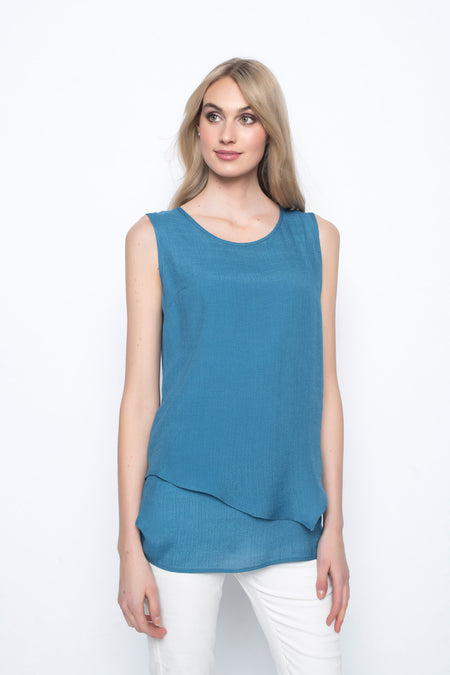 V-Neck Top with Asymmetrical Hem