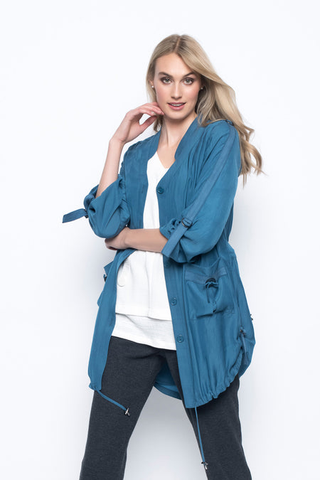 Lace Insert Zip-Front Jacket