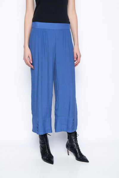 Pull-on Wide Leg Pants With Button Detail