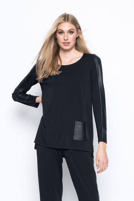 ¾ Sleeve Top With Asymmetric Hem