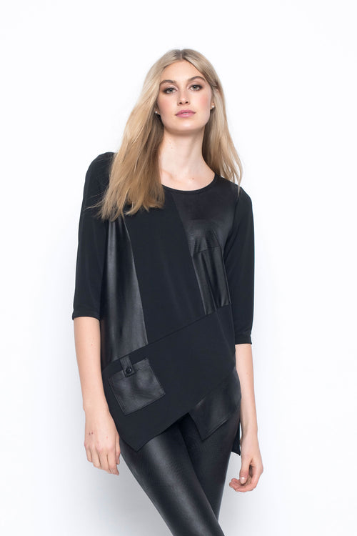 ¾ Sleeve Top With Asymmetrical Hem