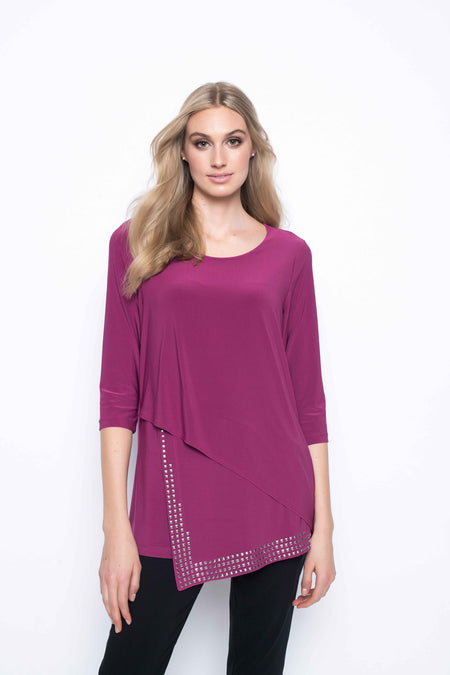 Three Quarter Sleeve Button Trimmed V-Neck Top