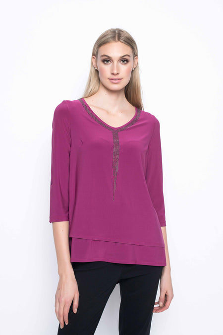 Solid Trimmed Ruffle Sleeve Top