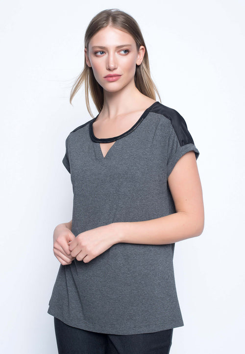 Embelished Keyhole Neckline Top