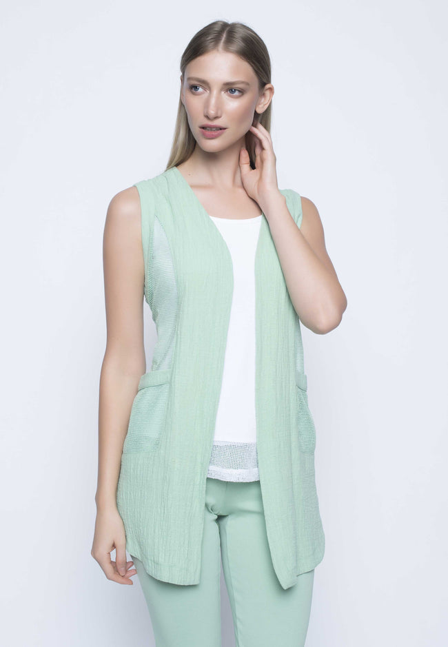 Contrast Trim Vest With Curved Hem