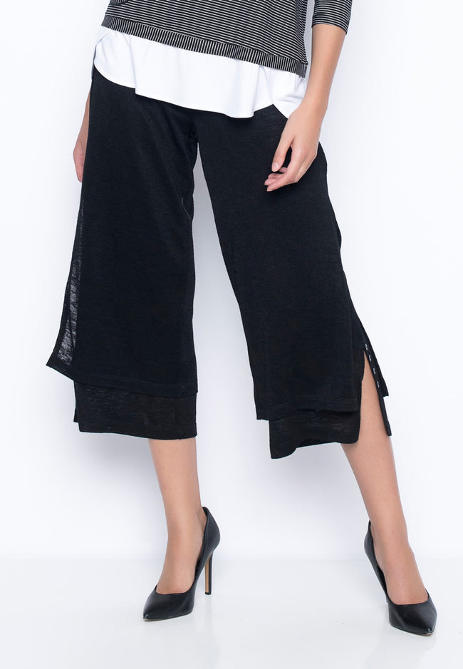 black Flowy Wrap Front Pants by Picadilly Canada