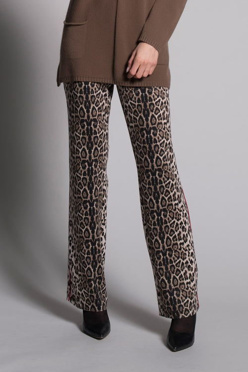 Piping Trim Pants With Pockets in leopard print by Picadilly canada