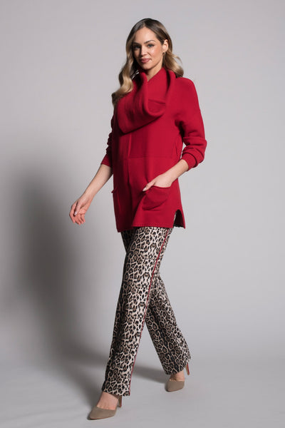 outfit featuring Piping Trim Pants With Pockets in leopard print by Picadilly canada