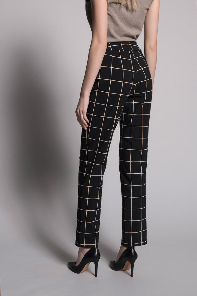 back view of Grid Print Pull-On Straight Leg Pants by Picadilly Canada