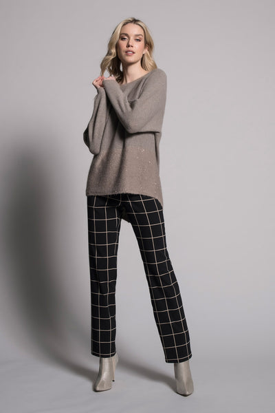 outfit featuring Grid Print Pull-On Straight Leg Pants by Picadilly Canada