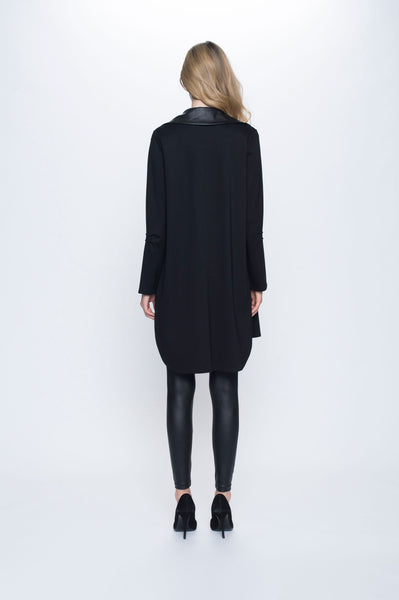 Contrast Trim Draped Long Jacket