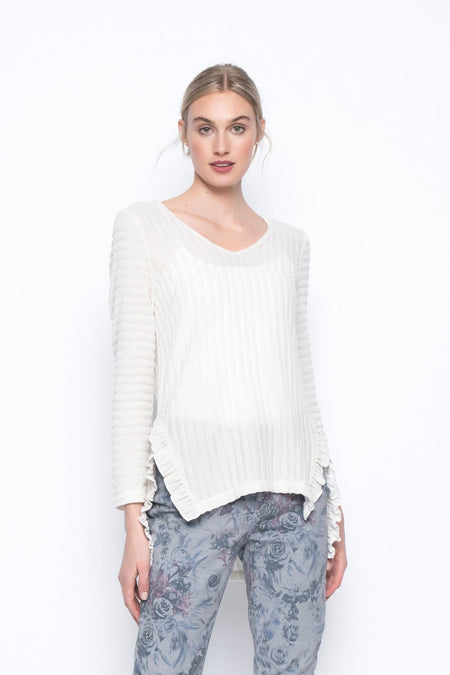 V-Neck Sweater with Wavy Stripes