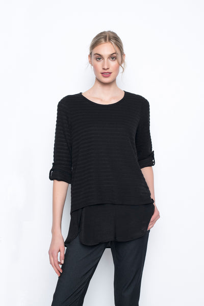 ¾ Sleeve Layered Top with Curved Hem