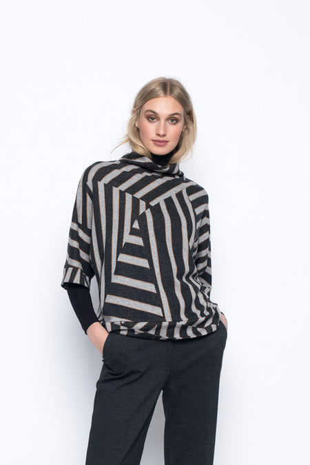 Turtle Neck Sweater With Asymmetrical Hem