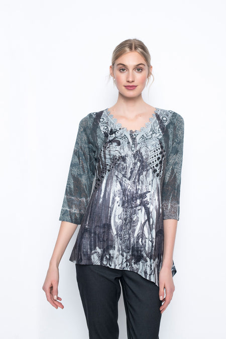 ¾ Sleeve Sequin Trimmed top