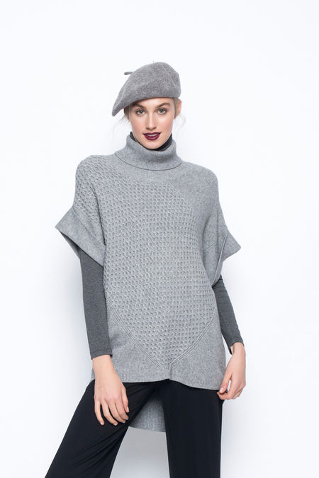 Sweater with Curved Hem and Scarf