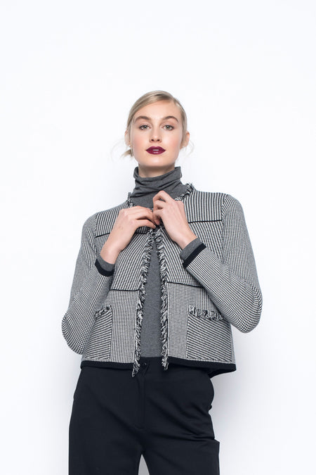 Sequin Trimmed Open-Front Jacket