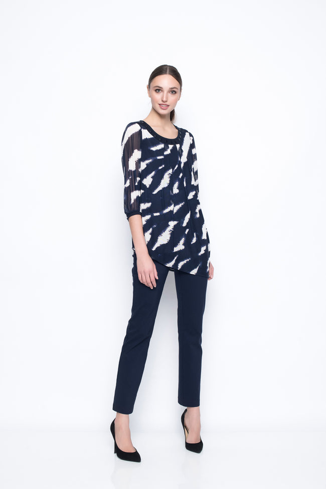 Gathered Sleeve Top With Asymmetric Hem